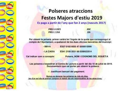 Polseres Atraccions Festes Majors d'Estiu 2019